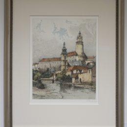 #73 Krumlov - color etching