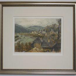 #90 Blick auf Salzburg - color etching