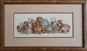 Teddy bear needle art in Presto burl frame.