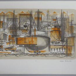 Color lithograph ship port