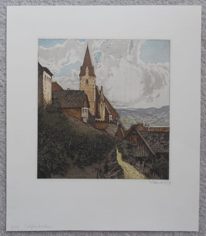 Artist signed color etching